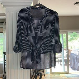 Charlotte Russe front tie striped v-neck shirt
